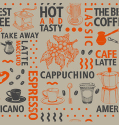 typographic coffee seamless pattern vector image