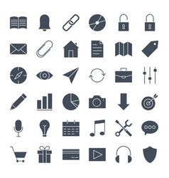 User interface solid web icons vector