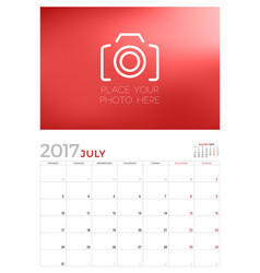 Wall calendar planner template for july 2017 week vector