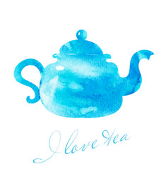 watercolor blue teapot vector image