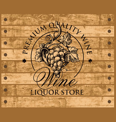 Wine banner for liquor store on wooden background vector