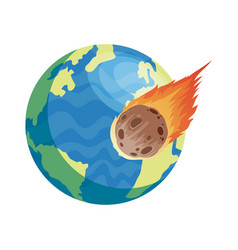 World earth planet with meteorite isolated style vector