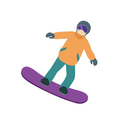 young guy is riding a snowboard in stylish bright vector image