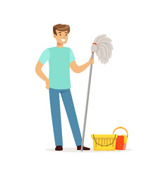 Young smiling man cleaning the floor with a mop vector
