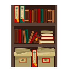 bookshelf with papers vector image