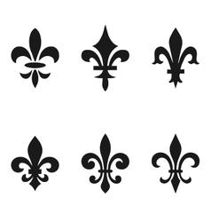 Collection of fleur de lis symbols black vector image vector image