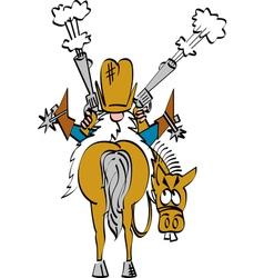 Cowboy shooting his guns vector image vector image