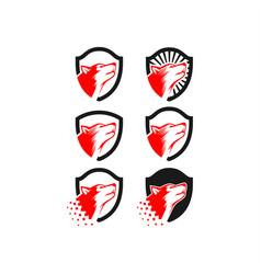 Dog shield logo vector