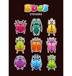 Funny cartoon style bugs stickers vector image