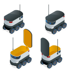 isometric robots deliver takeout orders it can vector image