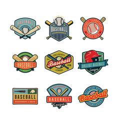 set of vintage baseball logos vector image