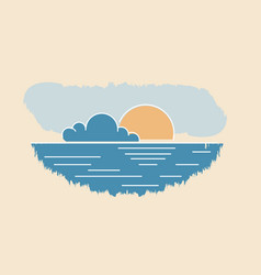 sun cloud seascape drawing abstract summer sunset vector image vector image