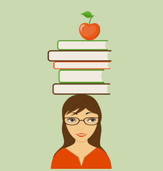 Smiling girl with books and apple vector