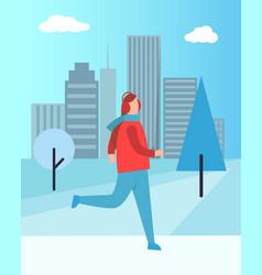woman in earphones running in warm winter cloth vector image