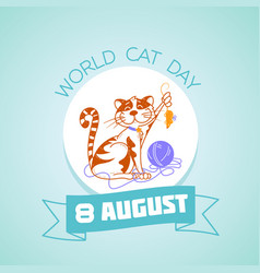 8 august world cat day vector