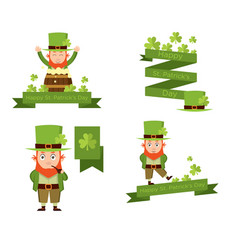 banners with leprechaun for patricks day vector image