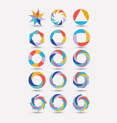 collection of colorful abstract circular symbols vector image vector image