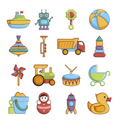 kids toys icons set cartoon style vector image vector image