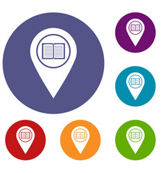 map pointer with book icons set vector image