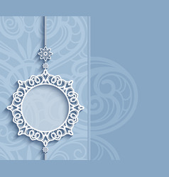 round frame lace pendant on blue background vector image
