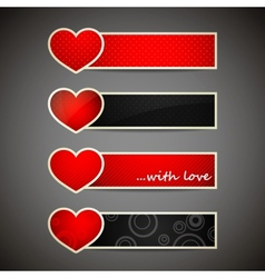 set of banners with red hearts vector image vector image