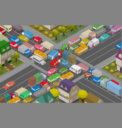 traffic jam isometric cars and houses for vector image