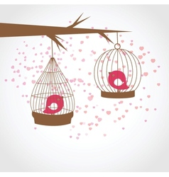 Vintage card with two cute birds in retro cages vector image vector image