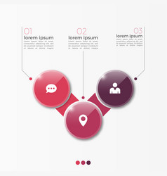 3 option infographic template with circles vector image