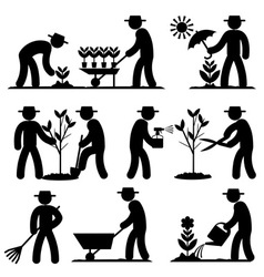 agro people icons vector image