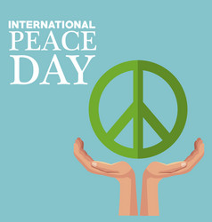 color poster peace symbol floating over a hands vector image vector image