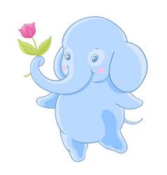 funny blue cartoon elephant gives a flower vector image