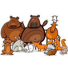 wild forest animals group cartoon vector image vector image