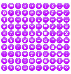 100 elephant icons set purple vector