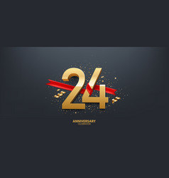 24th year anniversary background vector