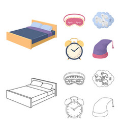 A bed a blindfold counting rams an alarm clock vector