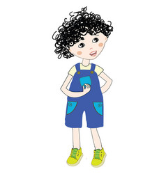 A teen boy in a blue and white colored body suit vector