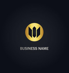 abstract m initial company gold logo vector image