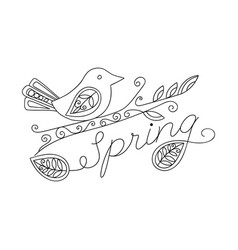 adult coloring funny bird and spring inscription vector image