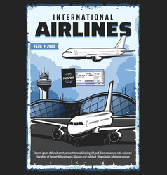 airport plane and ticket boarding pass vector image