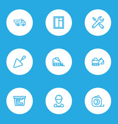 architecture icons line style set with service vector image