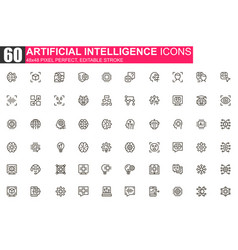 artificial intelligence thin line icon set vector image