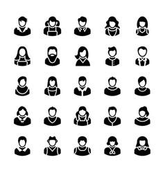 Avatars glyph icons 3 vector