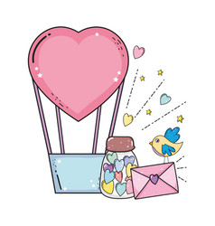 balloon air hot with heart shape and envelope vector image