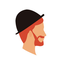 bearded head man profile with hat vector image