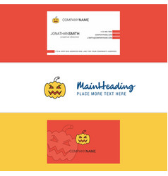 beautiful pumpkin logo and business card vertical vector image