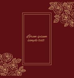 Beige outline roses greeting card on the burgundy vector
