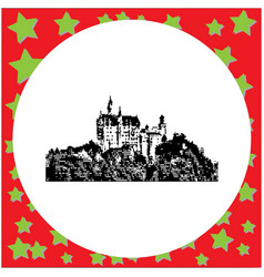 Black 8-bit neuschwanstein castle vector