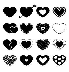 black heart big icon set different shape arrow vector image