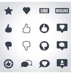 Black like icon set vector