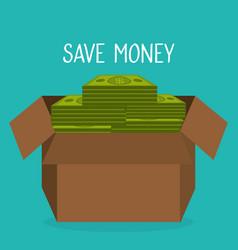 box carton with bills dollars vector image